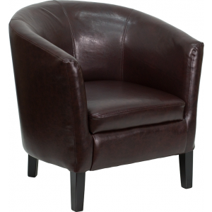 Wholesale Brown Leather Barrel Shaped Guest Chair
