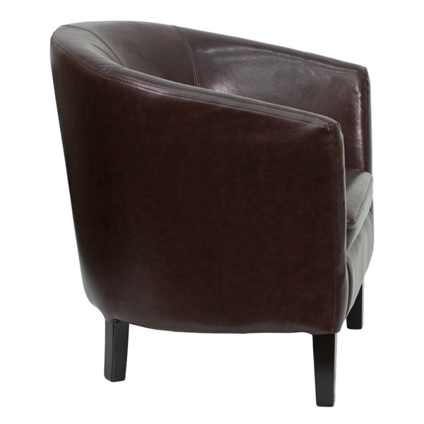 Lowest Price Brown Leather Barrel Shaped Guest Chair