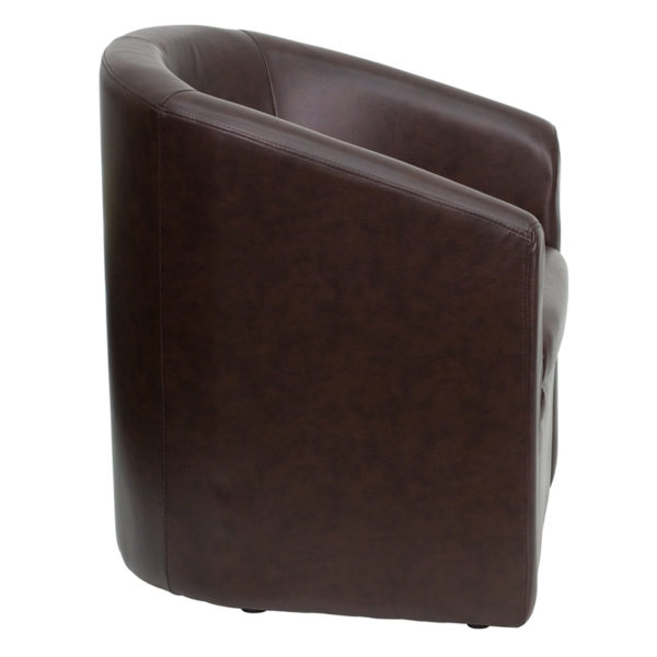 Lowest Price Brown Leather Barrel-Shaped Guest Chair