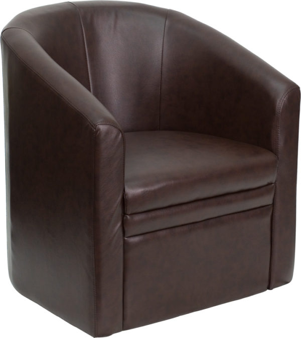 Wholesale Brown Leather Barrel-Shaped Guest Chair