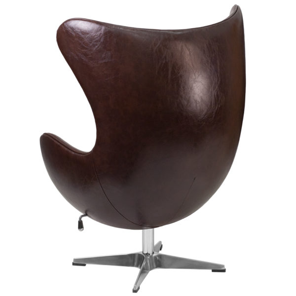 Lounge Chair Brown Leather Egg Chair