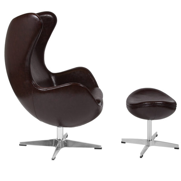 Lowest Price Brown Leather Egg Chair with Tilt-Lock Mechanism and Ottoman