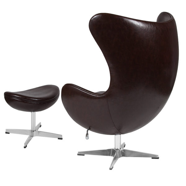 Chair and Ottoman Set Brown Leather Egg Chair/OTT