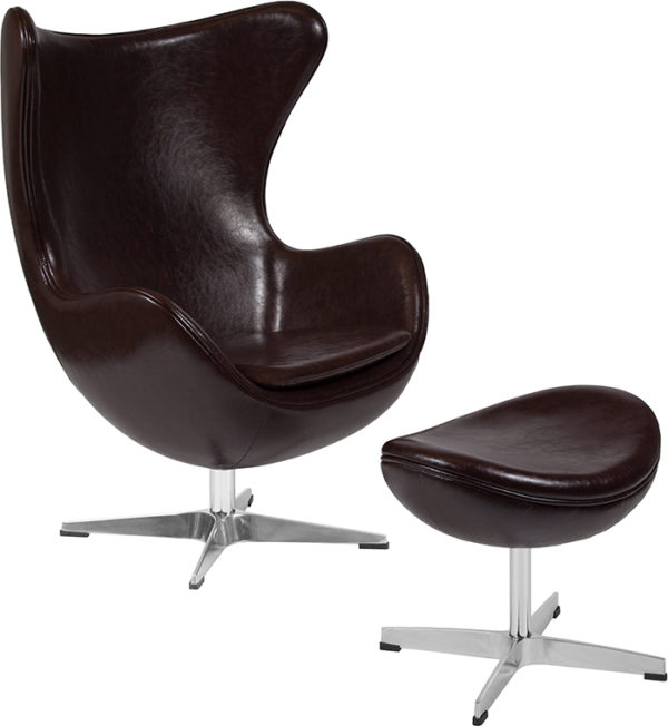Wholesale Brown Leather Egg Chair with Tilt-Lock Mechanism and Ottoman