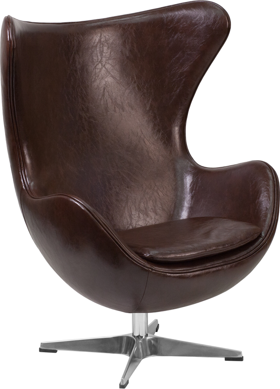 Wholesale Brown Leather Egg Chair with Tilt-Lock Mechanism