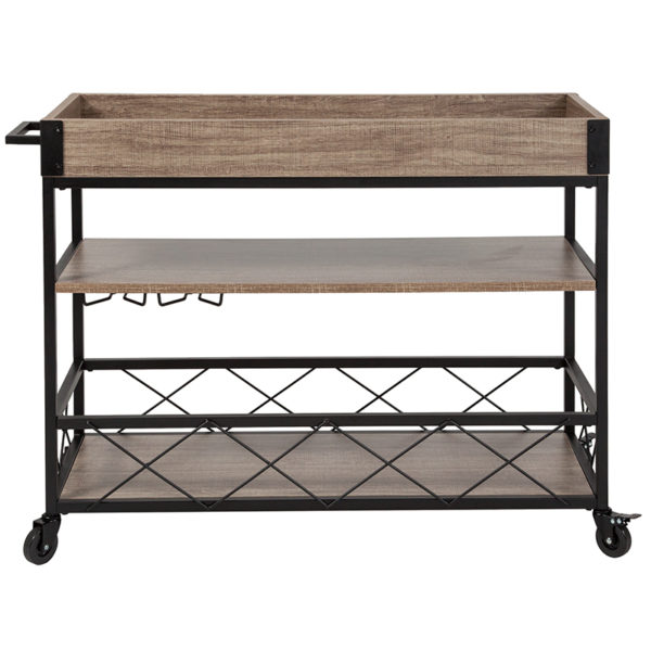 Lowest Price Buckhead Distressed Light Oak Wood and Iron Kitchen Serving and Bar Cart with Wine Glass Holders