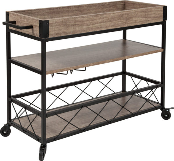 Wholesale Buckhead Distressed Light Oak Wood and Iron Kitchen Serving and Bar Cart with Wine Glass Holders