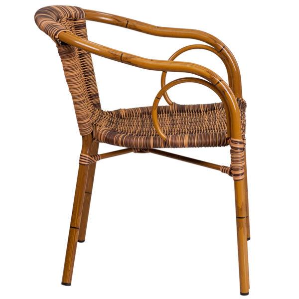 Lowest Price Cadiz Series Burning Brown Rattan Restaurant Patio Chair with Dark Red Bamboo-Aluminum Frame