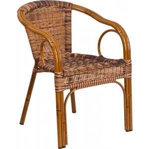 Wholesale Cadiz Series Burning Brown Rattan Restaurant Patio Chair with Dark Red Bamboo-Aluminum Frame