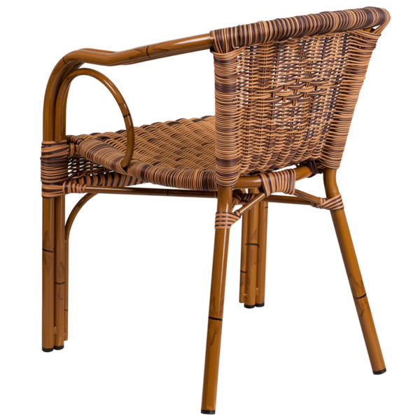 Stackable Cafe Chair Brown Rattan Bamboo Chair