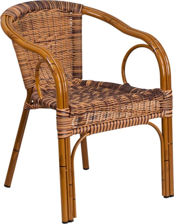 Wholesale Cadiz Series Burning Brown Rattan Restaurant Patio Chair with Dark Red Bamboo-Aluminum Frame