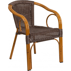 Wholesale Cadiz Series Dark Brown Rattan Restaurant Patio Chair with Red Bamboo-Aluminum Frame