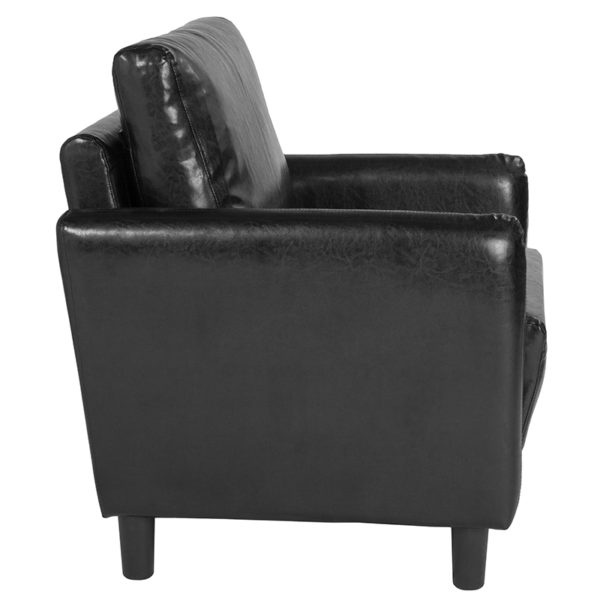 Lowest Price Candler Park Upholstered Chair in Black Leather
