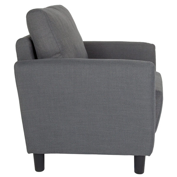 Lowest Price Candler Park Upholstered Chair in Dark Gray Fabric
