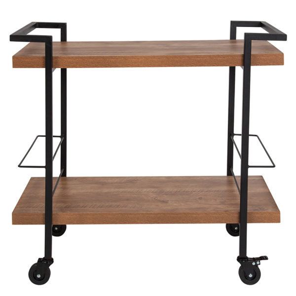 Lowest Price Castleberry Rustic Wood Grain and Iron Kitchen Serving and Bar Cart