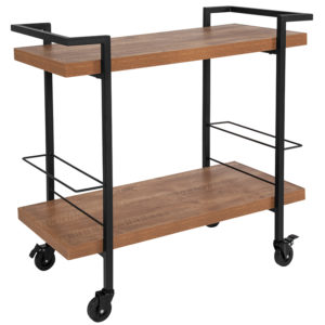 Wholesale Castleberry Rustic Wood Grain and Iron Kitchen Serving and Bar Cart