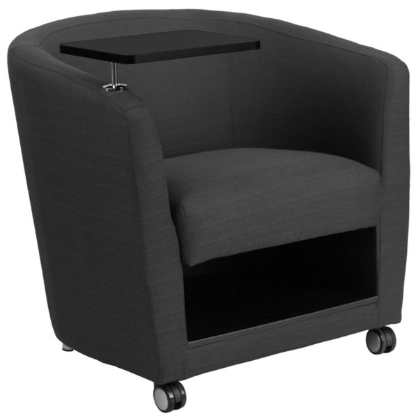 Wholesale Charcoal Gray Fabric Guest Chair with Tablet Arm