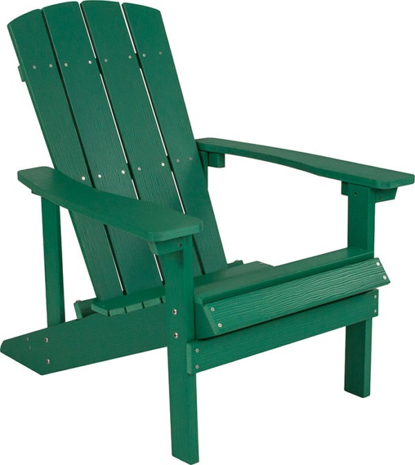 Lowest Price Charlestown All-Weather Adirondack Chair in Green Faux Wood