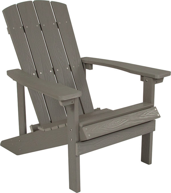 Lowest Price Charlestown All-Weather Adirondack Chair in Light Gray Faux Wood
