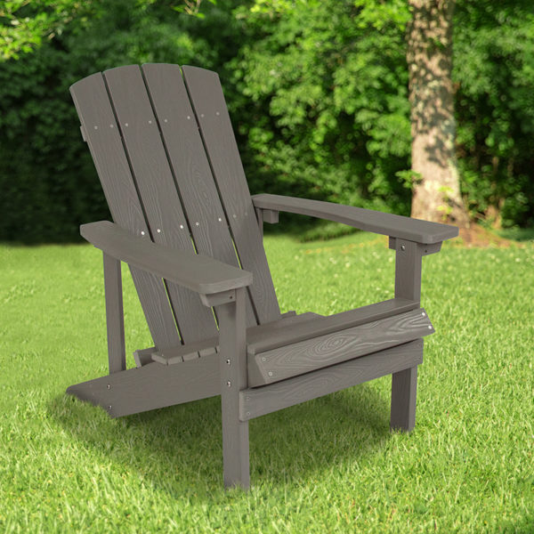 Wholesale Charlestown All-Weather Adirondack Chair in Light Gray Faux Wood