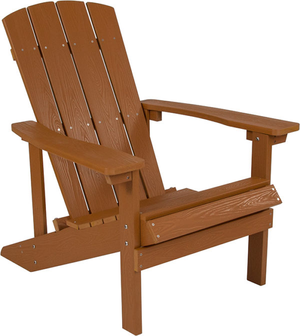 Lowest Price Charlestown All-Weather Adirondack Chair in Teak Faux Wood