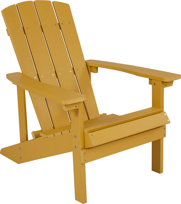 Lowest Price Charlestown All-Weather Adirondack Chair in Yellow Faux Wood