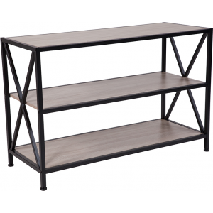 "Wholesale Chelsea Collection 3 Shelf 26""H Cross Brace Bookcase in Sonoma Oak Wood Grain Finish"