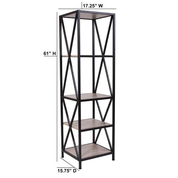 "Lowest Price Chelsea Collection 4 Shelf 61""H Cross Brace Bookcase in Sonoma Oak Wood Grain Finish"