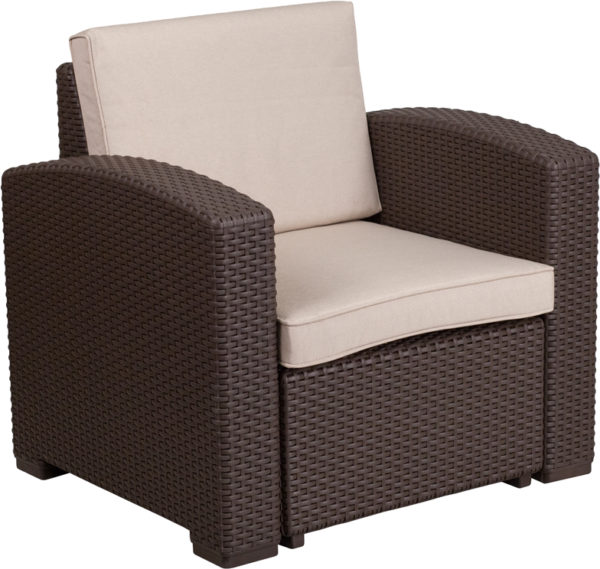Lowest Price Chocolate Brown Faux Rattan Chair with All-Weather Beige Cushion