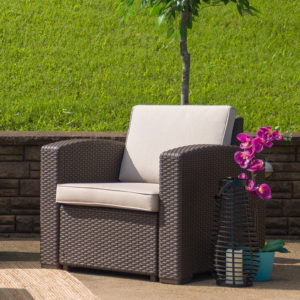 Wholesale Chocolate Brown Faux Rattan Chair with All-Weather Beige Cushion