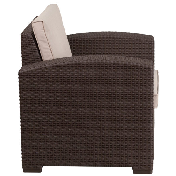 Contemporary Outdoor Chair Chocolate Rattan Outdoor Chair