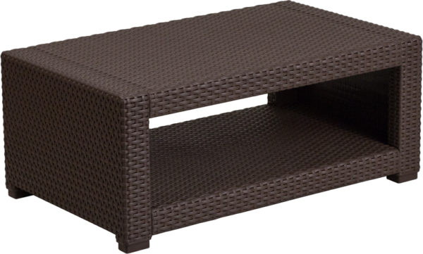 Lowest Price Chocolate Brown Faux Rattan Coffee Table