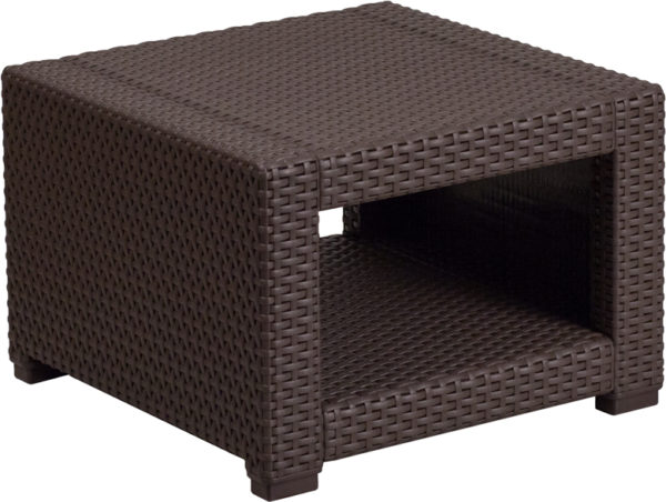 Lowest Price Chocolate Brown Faux Rattan End Table