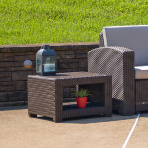 Wholesale Chocolate Brown Faux Rattan End Table
