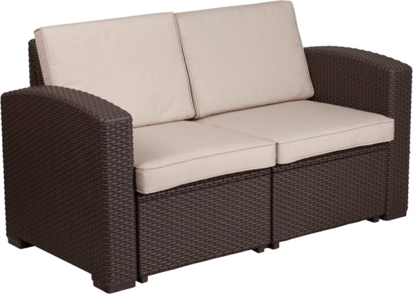 Lowest Price Chocolate Brown Faux Rattan Loveseat with All-Weather Beige Cushions
