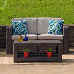 Wholesale Chocolate Brown Faux Rattan Loveseat with All-Weather Beige Cushions