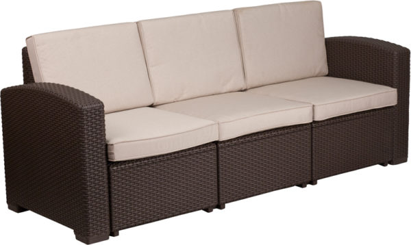 Lowest Price Chocolate Brown Faux Rattan Sofa with All-Weather Beige Cushions