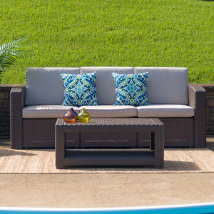 Wholesale Chocolate Brown Faux Rattan Sofa with All-Weather Beige Cushions