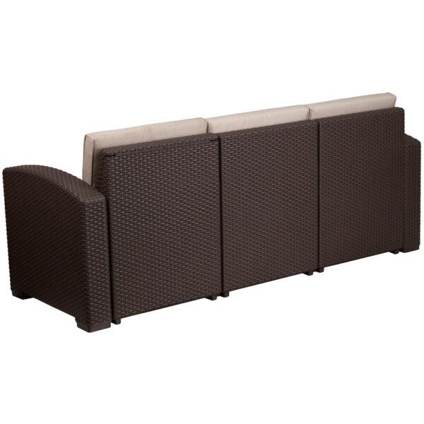 Contemporary Outdoor Sofa Chocolate Rattan Outdoor Sofa