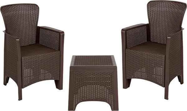 Lowest Price Chocolate Faux Rattan Plastic Chair Set with Matching Side Table