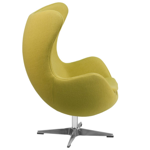 Lowest Price Citron Wool Fabric Egg Chair with Tilt-Lock Mechanism