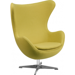 Wholesale Citron Wool Fabric Egg Chair with Tilt-Lock Mechanism
