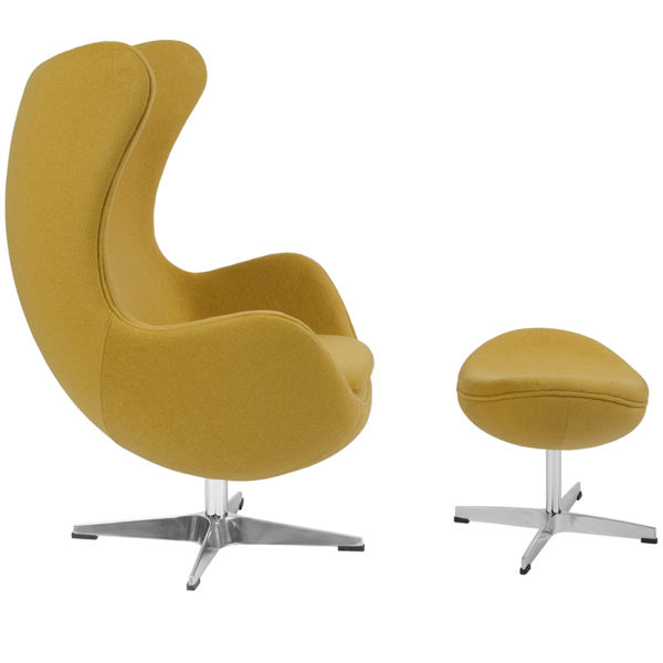 Lowest Price Citron Wool Fabric Egg Chair with Tilt-Lock Mechanism and Ottoman