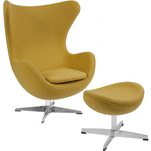 Wholesale Citron Wool Fabric Egg Chair with Tilt-Lock Mechanism and Ottoman