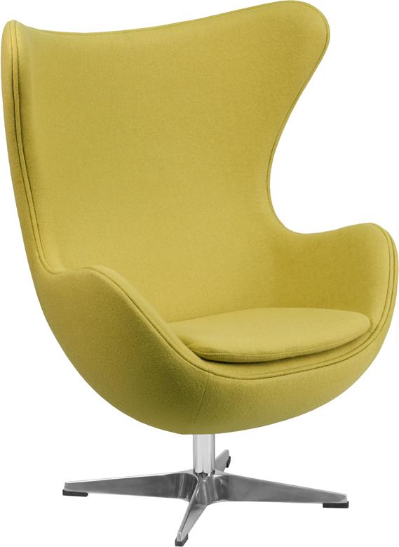 Wholesale Citron Wool Fabric Egg Chair with Tilt-Lock Mechanism