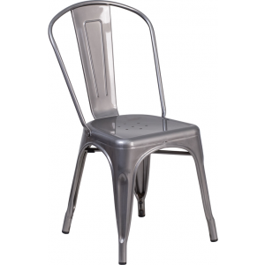 Wholesale Clear Coated Metal Indoor Stackable Chair
