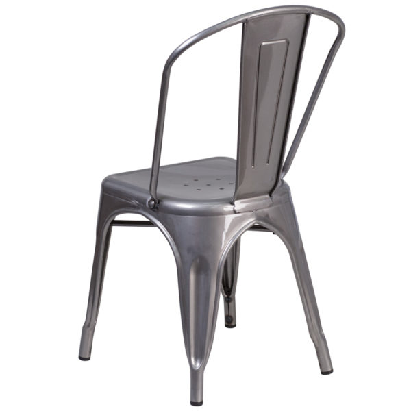 Stackable Bistro Style Chair Clear Metal Indoor Chair