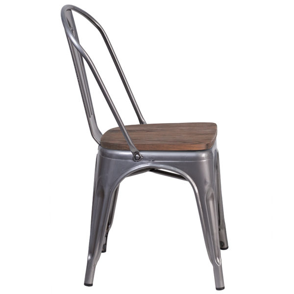 Lowest Price Clear Coated Metal Stackable Chair with Wood Seat