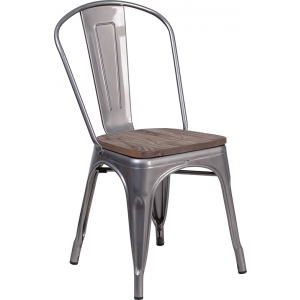 Wholesale Clear Coated Metal Stackable Chair with Wood Seat