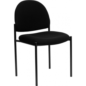 Wholesale Comfort Black Fabric Stackable Steel Side Reception Chair